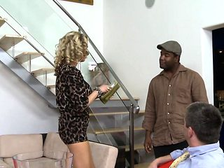 Busty MILF banged by bbc while hubby watches