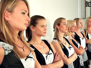 6 Girls Orgy Sexfight for the best maid