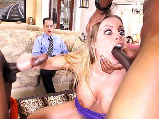 Cuckold Watches Anal Slut Britney Amber Gets DP'd