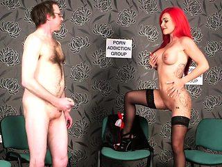 Redheaded british voyeur instructs sub to tug