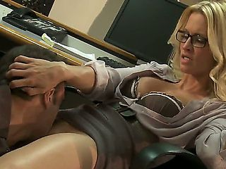Hot and sexy blonde secretary with glasses Jessica Drake gets her shaved taco licked and rammed a...