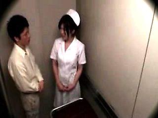 Sexy slender Oriental nurse seduces a patient to get what s