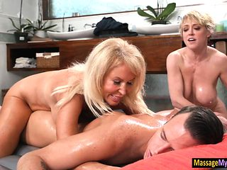 Stepson receives massage by his stepmom and her friend