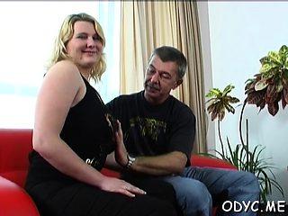 Gorgeous slut enjoys 69 and rides older man wildly