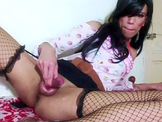 Asian naughty sissy boy CUM from CLIT