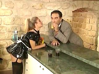 Blond maid offers guest a full service