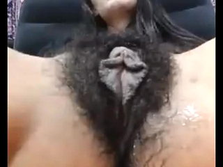 Mature very hairy cunt with long labia