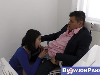 Naughty secretary Lady Dee riding boss cock after sucking it