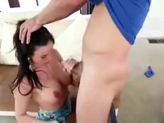 Mommy with big tits and big ass fucks son friend