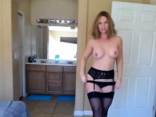 horny mommy stripping on webcam and getting naked