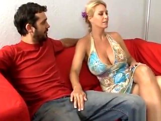 Fake cum all over big titted MILF blondie!
