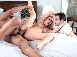 Wife on big black cock in front of cuck