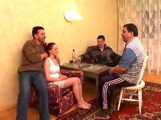 Russian college girl Lola gangbanged