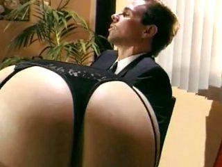 Office sex - black stockings