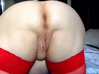 Red Stocking Mum Anal Creampie
