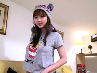 Adorable asian teen masturbates in a cute hat