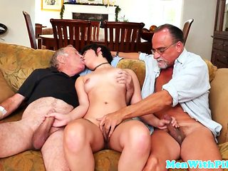 Inked Teen Gets Cuminmouth By Grandpa