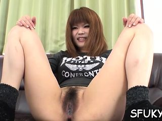 Asian pussy gets wet as sextoy get thrust in her