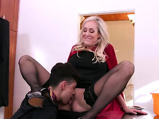 Sexy old milf first time She goes down on him before she