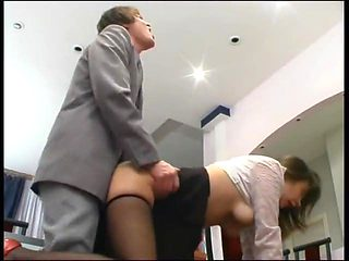 Boss fucks secretary in pantyhose