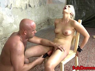 Restrained bondage babe sucks doms cock