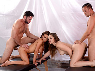 Hot sluts Dani Daniels and Nikki Benz loves doing foursome