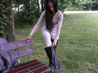 korean hottie with thigh high boots