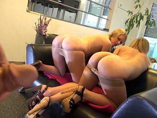 Blonde German Sluts go wild for old cock