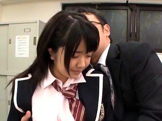 Horny schoolgirl rides a hard shlong till she cums hard