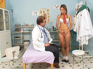 School girl Rachel Evans forced to suck on old doctor cock