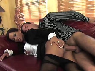 Beautiful secretary gets fucked on the couch