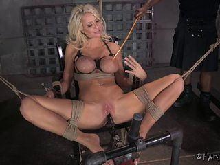 Bimbo tied up by a black guy that plays with her pussy