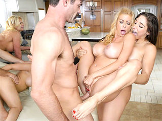 Big group of pornstars stay in a house and fuck all the time