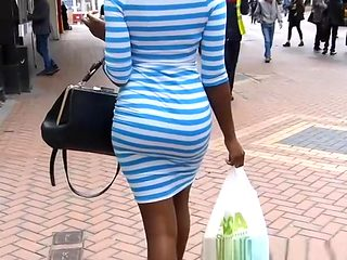 Ebony big ass in tight dress