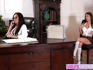 Sexy schoolgirl Riley Reid submits to MILF Ariella Ferrera