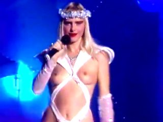 Cicciolina nearly nude live on stage italian television