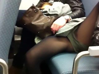 Sexy legs open wide in the bus