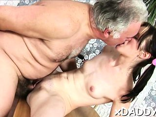 Slutty playgirl got specie to fuck an old lad all day long