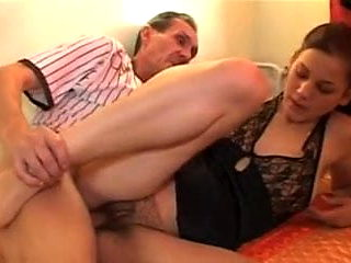 Daughter's hairy pussy fucked by dad