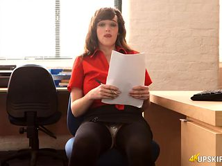 Secretary legs spread so you can see her panties