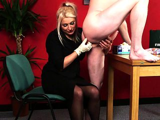 CFNM milf wanks cock while fingering asshole