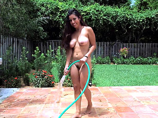 The maid waters my plants naked