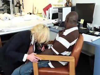 Busty bbw secretary interracial office fuck