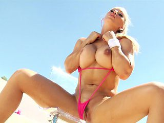 Blonde enchantress in a bikini gets and gives head before they fuck