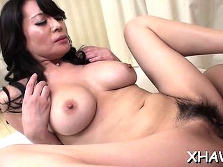 Guy fucks oriental hairy love tunnel