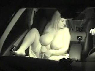 Busty wife likes fucking in the car at night