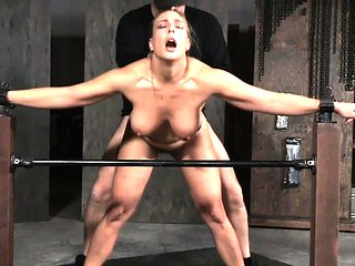 Spitroasted sub slave gagging on cock