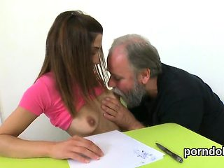 Lovesome bookworm was teased and nailed by her older instruc
