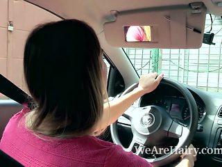 Regina strips nude and masturbates in her car