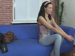 Casting penetration adventure with a black-haired Russian cutie